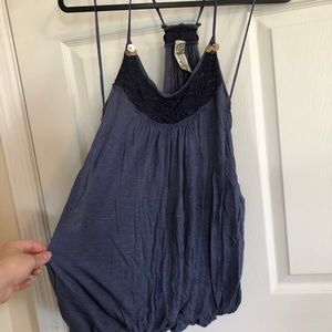Free people tank top blouse Strappy blue small